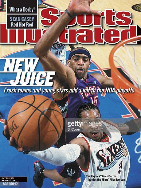 May 14 2001 Sports Illustrated via Getty Images Cover Basketball NBA Playoffs Philadelphia 76ers Allen Iverson in action shot vs Toronto Raptors...