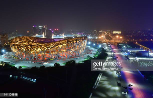 May 14, 2019 -- Photo taken on May 14, 2019 shows the night view of the National Stadium, also known as the Bird's Nest, in Beijing, capital of...