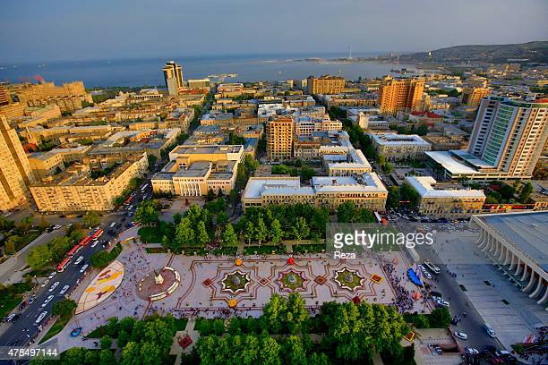 May 14 Flower Festival Heydar Aliyev Park Baku Azerbaijan An aerial view of the Flower Festival from a hot air balloon Flowers are shipped to...