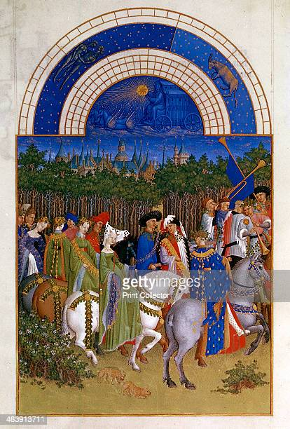 May 14121416 Lords and ladies mounted progressing along a road by woods preceded by trumpeters They are taking part in a procession to celebrate the...