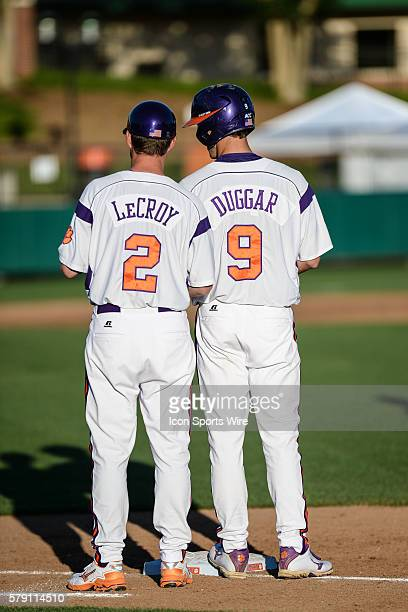 Clemson 1st base coach Bradley LeCroy talks to Steven Duggar at 1st base during the baseball game between the Boston College Eagles and Clemson...