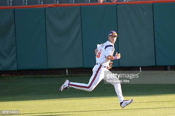 Clemson's Steven Duggar chases down a ball during the baseball game between the Boston College Eagles and Clemson Tigers at Doug Kingsmore Stadium in...