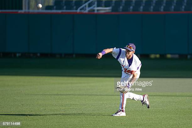 Clemson's Steven Duggar throws home during the baseball game between the Boston College Eagles and Clemson Tigers at Doug Kingsmore Stadium in...