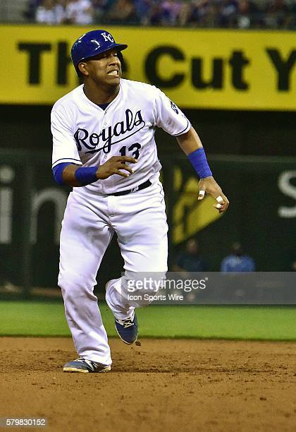 Kansas City Royals' catcher Salvador Perez leads off of second base in the fifth inning during an American League baseball game between the New York...