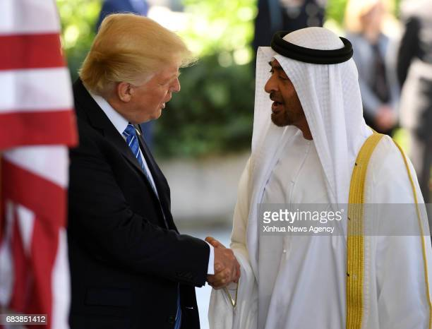 WASHINGTON May 15 2017 US President Donald Trump welcomes Sheikh Mohamed bin Zayed AlNahyan Abu Dhabi Crown Prince of the United Arab Emirates at the...