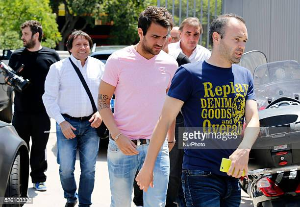 Andres Iniesta and Desc Fabregas in the Carles Puyol farewell ceremonyl held in the Auditorium 1899 of the FCB the May 15 2014 Photo Joan...