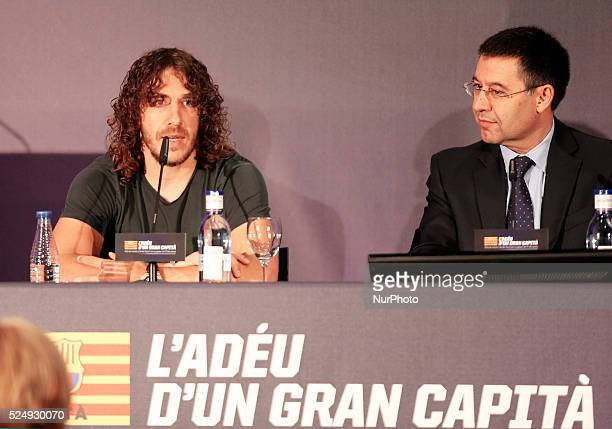 FC Barcelona president Josep Maria Bartomeu in the Carles Puyol farewell ceremonyl held in the Auditorium 1899 of the FCB the May 15 2014 Photo Joan...