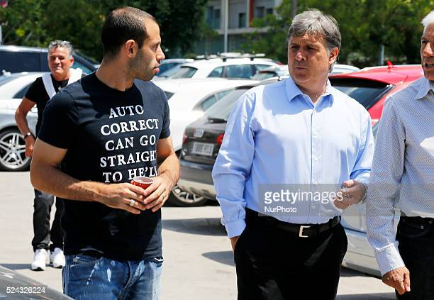 Gerardo Martino and Mascherano in the Carles Puyol farewell ceremonyl held in the Auditorium 1899 of the FCB the May 15 2014 Photo Joan...