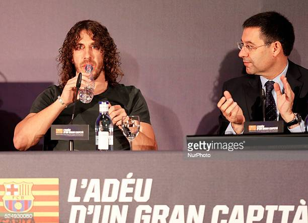 preisdent FC Barcelona Josep Maria Bartomeu in the Carles Puyol farewell ceremonyl held in the Auditorium 1899 of the FCB the May 15 2014 Photo Joan...