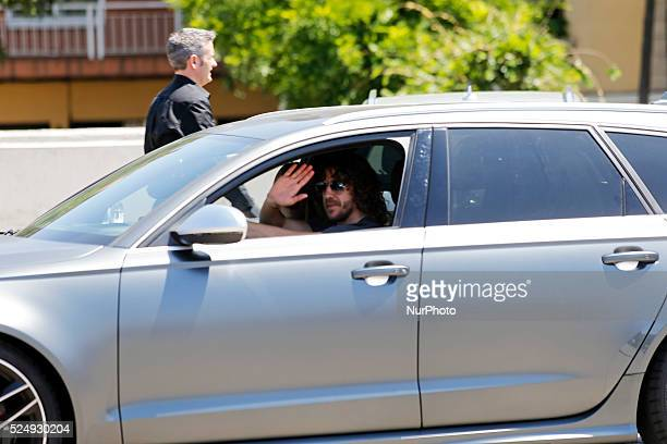 the player and his wife Vanesa Lorenzo in the Carles Puyol farewell ceremonyl held in the Auditorium 1899 of the FCB the May 15 2014 Photo Joan...