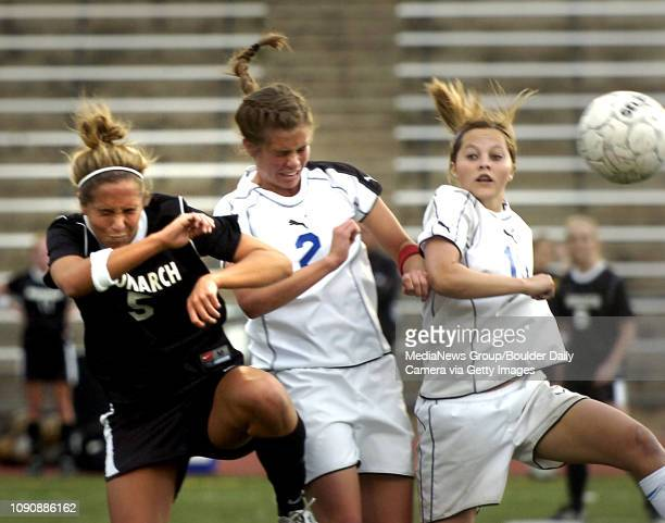 May 16 2007 / Greenwood Village / Monarch's Amanda Raley and Cherry Creek's Kristen Miller fight for the ball during a game played at Cherry Creek...