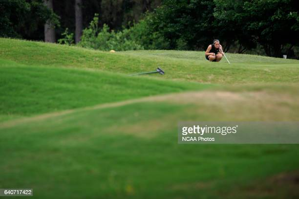 Allie Tyler of Grand Valley State competes in the Division II Women's Golf Championship held at Memorial Park in Houston TX Tyler finished tied for...