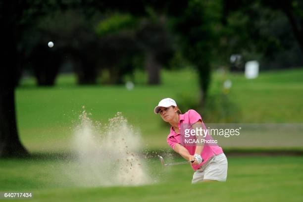 Laura Fourdraine of Rollins College hits a shot out of the rough during the Division II Women's Golf Championship held at Memorial Park in Houston TX...