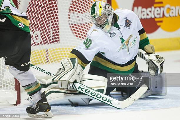 Val d'Or Foreurs goalie Antoine Bibeau makes a save during the opening game of the 2014 MasterCard Memorial Cup. Val d'Or defeated the host London...