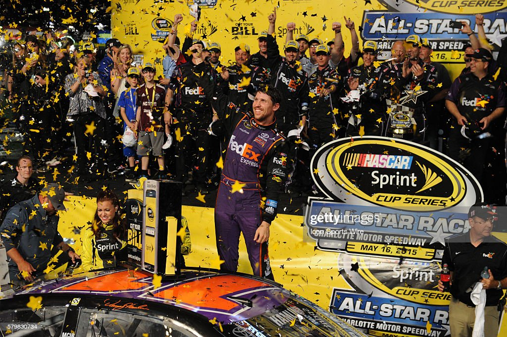 09ba8dab124254 Sprint Cup Series driver Denny Hamlin wins the million dollars at ...