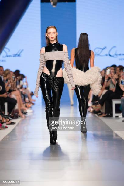 A model walks the runway during Designer Laquan Smith's show at Arab Fashion Week Ready Couture Resort 2018 on May 172017 at Meydan in Dubai United...