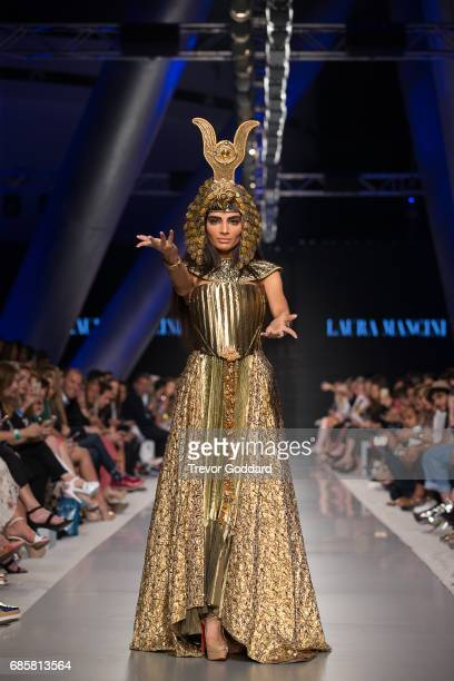 A model walks the runway during Designer Laura Mancini's show at Arab Fashion Week Ready Couture Resort 2018 on May 172017 at Meydan in Dubai United...