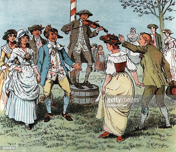 Couples dance around the Maypole to tunes played on the fiddle Original Artist By Randolph Caldecott