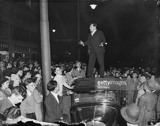 Arthur Garfield Hays crusading attorney and member of the civil liberties union Pictured on top of an automobile as he addressed some 200 persons in...