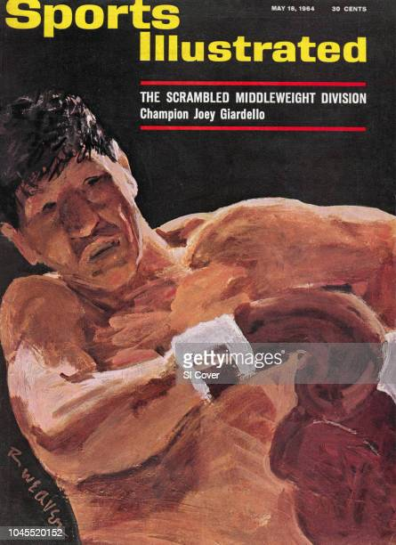 Boxing Closeup illustration of middleweight boxer Joey Giardello in action painting by Art Department New York NY CREDIT Robert Weaver