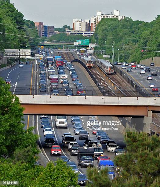 May 18 2009 PLACE Fairfax VA PHOTOGRAPHER jahi chikwendiu/twp Metro trains move to and from the Vienna Metro Station alongside I66 traffic in Fairfax...