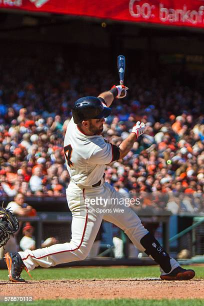 San Francisco Giants second baseman Brandon Hicks at hoe plate as he follows the trajectory of the ball after connecting during the game between the...