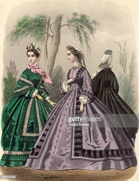 Crinolined day dresses and shawl in the 1860's