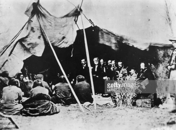 General William Tecumseh Sherman and the Peace Commission meet with Cheyenne and Arapaho Indians at Fort Laramie in Wyoming to try and end Red...