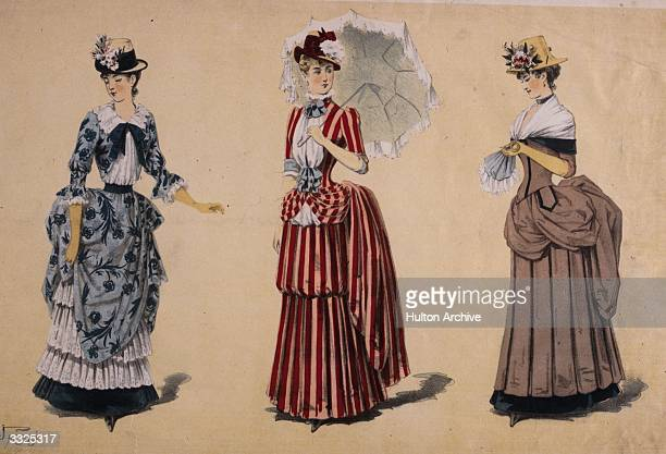 Late Victorian 'flower show and garden party dresses' with high bustles and fitted corset lines