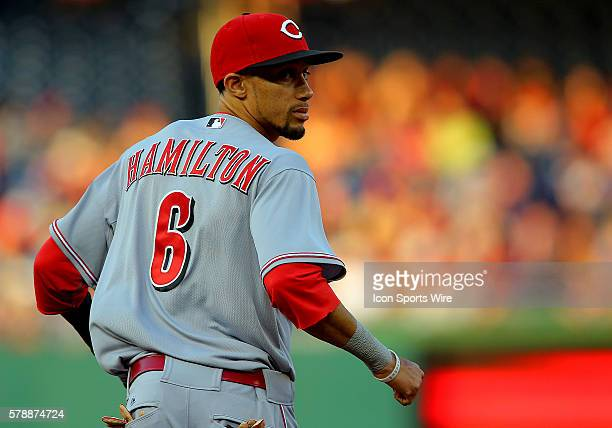 Center fielder Billy Hamilton of the Cincinnati Reds fielding against the Washington Nationals during a MLB game at Nationals Park in Washington DC