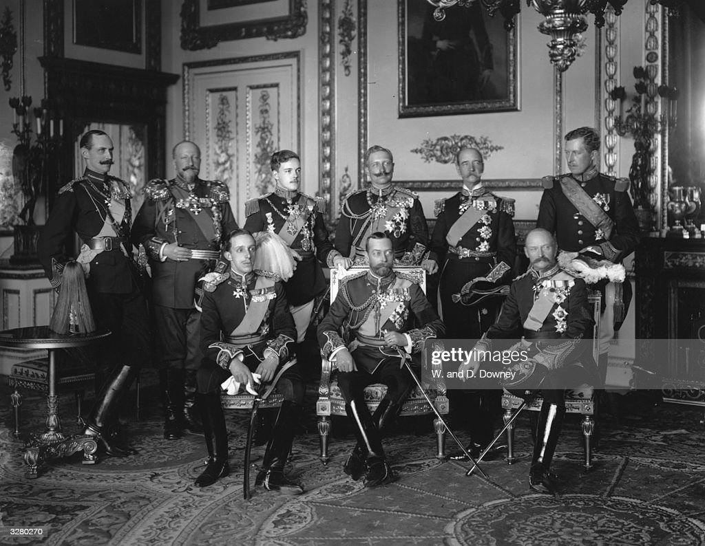 Nine Kings assembled at Buckingham Palace for the funeral of Edward VII, the Father of George V (centre). From left to right, back row: Haakon VII of Norway, Ferdinand I of Bulgaria, Manuel II of Portugal, Wilhelm II of Germany, George I of Greece and Albert I Of Belgium. Front row: Alphonso XIII of Spain, George V and Frederick VIII of Denmark.
