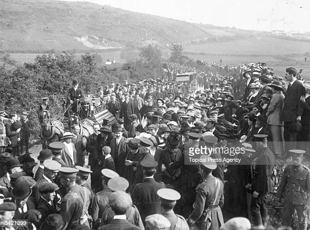 Funeral cortege in Queenstown of the victims of the Lusitania disaster The Lusitania was a Cunard passenger liner sunk by a German Uboat in the Irish...