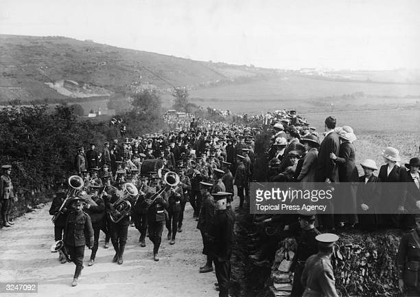 The funeral procession of several victims of the Lusitania disaster