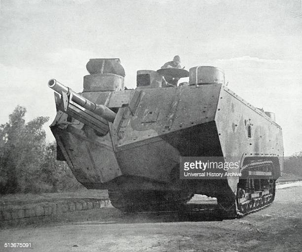 May 1917 French army tank on the move during World War One