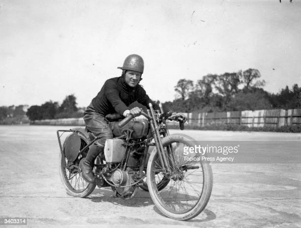 F Dixon on a HarleyDavidson at Brooklands race track Weybridge Surrey