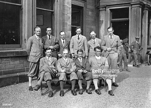 Members of the 1923 British Walker Cup golf team posing for a portrait at St Andrews Golf Club in Fife. The team was captained by Robert Harris and...