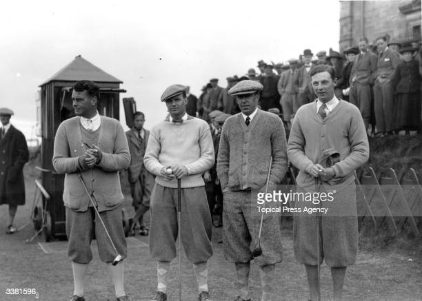 Members of the 1923 British Walker Cup golf team posing for a portrait at St Andrews golf course in Fife. The team was captained by Robert Harris and...