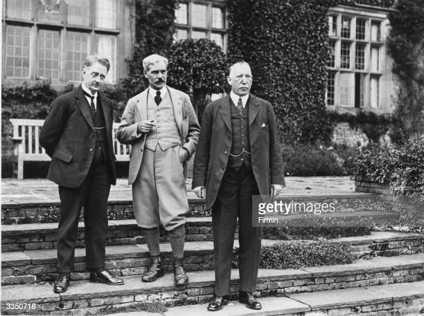 Prime Minister of the Irish Free State William Cosgrave meeting with British Prime Minister Ramsay Macdonald and the first Prime Minister of Northern...