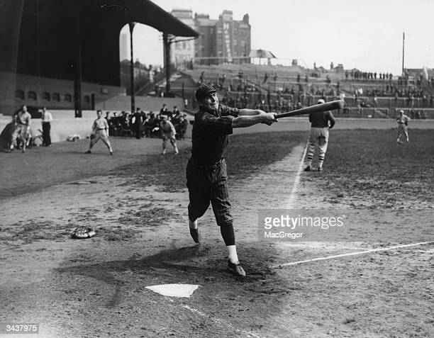 Member of the Oxford University baseball team striking out in a game against Chelsea at Stamford Bridge.