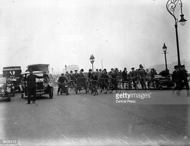 Traffic on one of London's bridges during the General Strike of 1926
