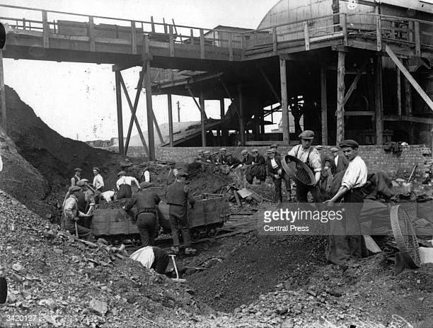 Volunteers working in a coal mine in Preston during the General Strike of 1926, in which trade union members from various key industries in Britain...