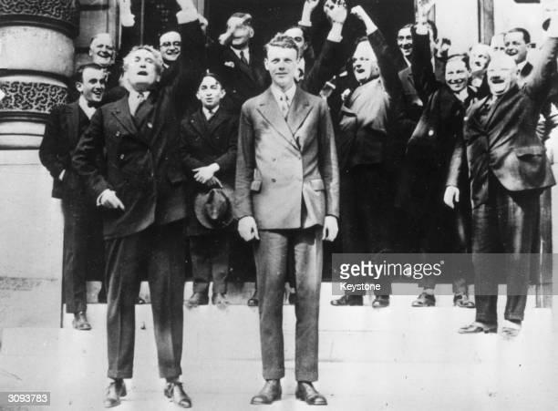 American aviator Charles Lindbergh in Paris after flying the Atlantic, on his left is the American Ambassador Myron Herrick .