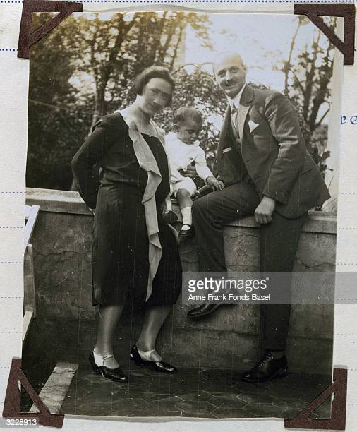 EXCLUSIVE Mrs Edith Frank and Mr Otto Frank the parents of Anne Frank with their firstborn daughter Margot from Margot's photo album Aachen Germany