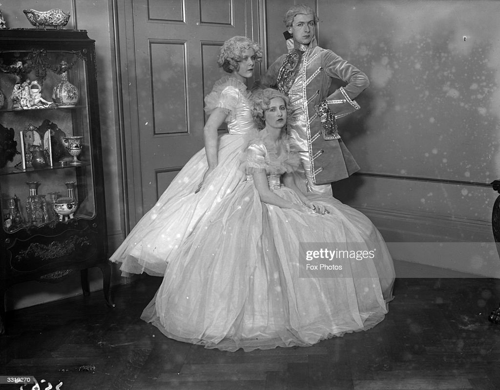 Nancy and Baba Beaton in wig and gown accompanied by a Regency dandy ...