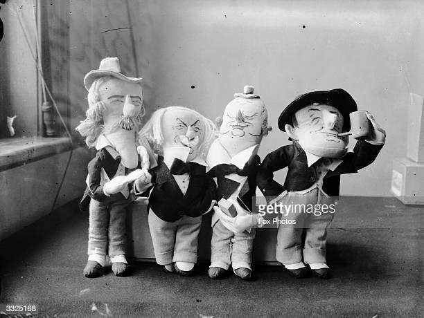 Political dolls of Stanley Baldwin James Ramsay Macdonald Winston Leonard Spencer Churchill and David Lloyd George