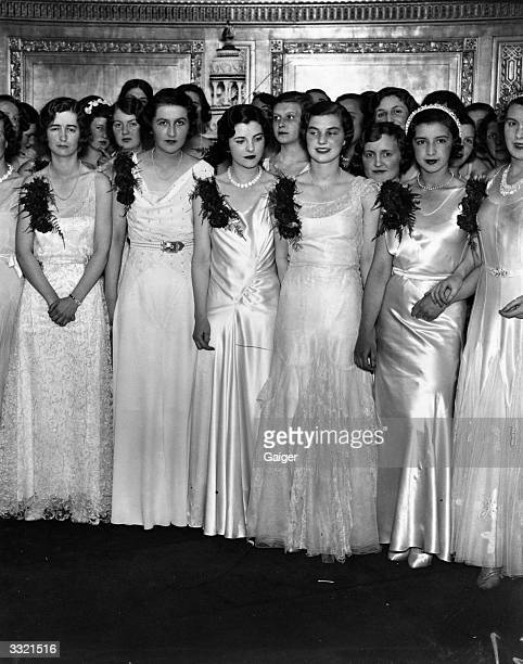 Debutantes at Queen Charlotte's Ball at the Dorchester Hotel London