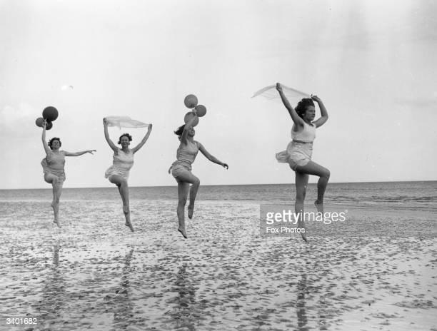 Dancing school pupils practice en plein air at Worthing in East Sussex