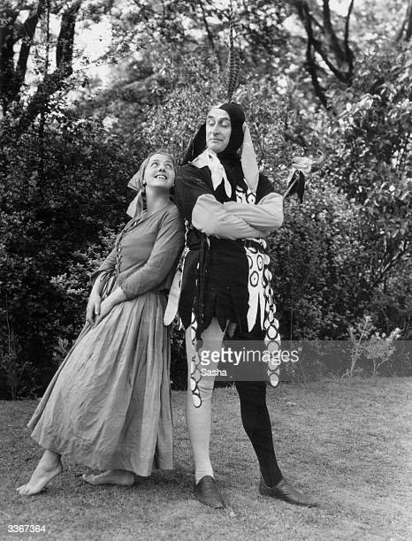 Henry Hewitt as Touchstone and Eileen Beldon as Audrey in a production of 'As You Like It' at Regent's Park OpenAir Theatre London