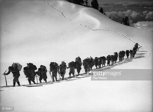 The fourth German expedition attempting to climb Nanga Parbat peak in the Himalayas The expedition was later overwhelmed by disaster