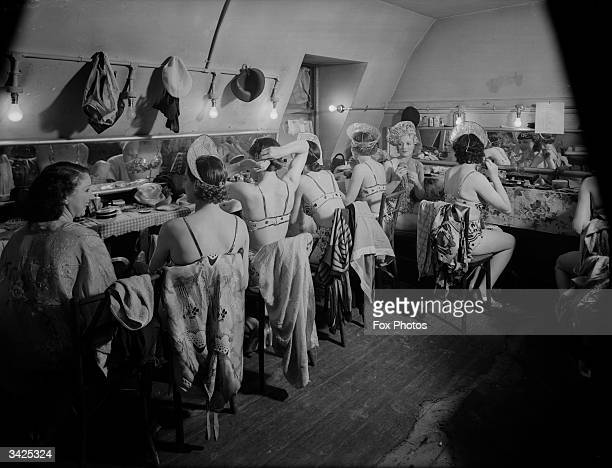 Chorus girls in their dressing room at the Prince Edward Theatre London